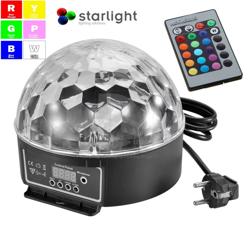 starlight led disco ball jeux de lumi re leds quip avec 6 led de 3 watts musicmove store. Black Bedroom Furniture Sets. Home Design Ideas